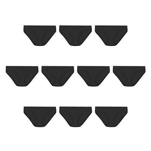 Hanes Women's Cotton Bikini Panties Multi-Packs, 10 Pack - Black, 5