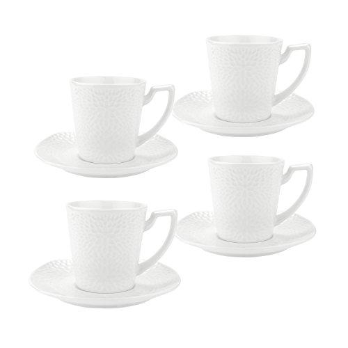 Rachel's 90ml Porzellan Espressotassen/Kaffeetassen Set mit Untertasse - Sonnenblume(S) 4er Set