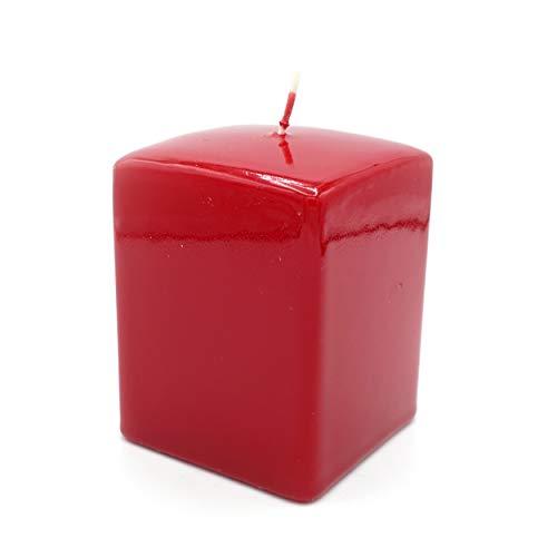 GIRM KIT00010 Set 4 candela quadrata color rosso h10x7x7 cm. Decorazione natalizia, addobbo di Natale, cero natalizio, centrotavola di Natale
