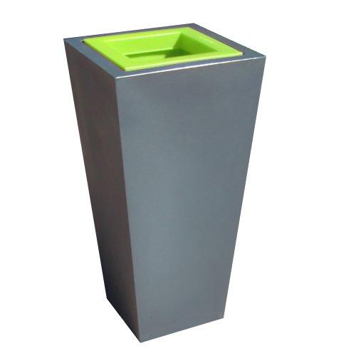Green City Stark S Pot de Fleurs Carré à Réserve d'Eau Plastique Anthracite/Vert Anis