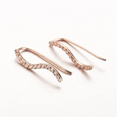 XAOQW Vintage Oro Rose Leaf Pendientes Cuff Ear Climbers Mujeres Cumpleaños Joyería Sea Waves Falso Cuerpo Perforante Bijoux Regalo-Acero 472