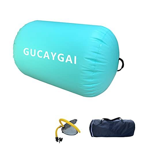 Air Roller Air Barrel Gymnastics Roller Inflatable Tumbling Mat Air Spot With foot pump for Home Use/Training Cheerleading/Yoga/Martial Arts/Acrobatics