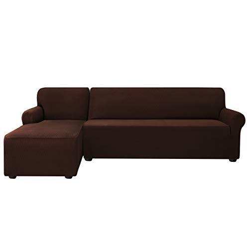 subrtex Sofabezug L Form Stretch Sofahusse Ecksofa Elastisch Antirutsch Eckcouch überwurf Weich Stoff Abwaschbar (Links 2 Sitzer, Schokolade)