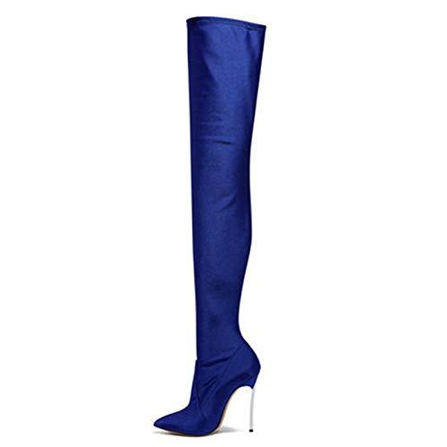 Botas altas hasta el muslo con punta puntiaguda y tacón de aguja sexy para mujer, botas sobre la rodilla con tacón de metal de cuero elástico para mujer-Blue||33