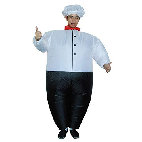 Dasongff Aufblasbares Kostüm,Fatsuit Aufblasbar Smoking Fett Anzug, Koch Fasching Karneval Party Outfit, Männer Cosplay Suit Spielzeug,Erwachsene Fun-Bekleidung Partysuit (A, Weiß)