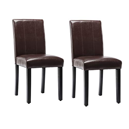 Dining Chairs Set of 2 Solid Wood Leatherette Parson Chairs(Brown)