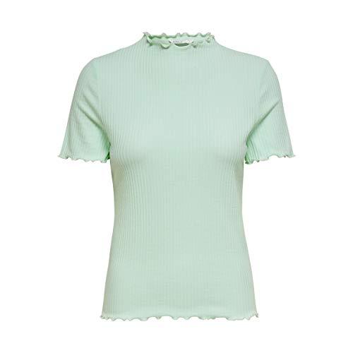 ONLY Damen ONLEMMA S/S Highneck TOP NOOS JRS T-Shirt, Honeydew, M