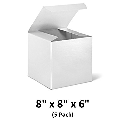 White Cardboard Tuck Top Gift Boxes with Lids, 8x8x6 (5 Pack) for Gifts, Crafting & Cupcakes   MagicWater Supply