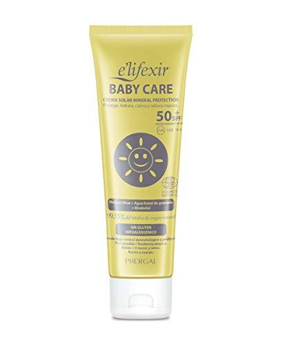 Elifexir Baby Care - Crema Solar Niño y Bebé | Hidratante, Nutritiva, Resistente Agua | Protector Solar UVA/UVB/IR-A | 100% Filtros Minerales | Sin Parabenes | Hipoalergénica | Piel Sensible -100ml