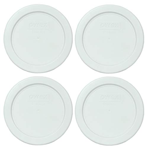 Pyrex 7202-PC White Round Plastic Food Storage Replacement Lids - 2 Pack