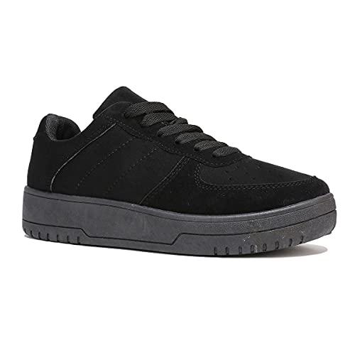 La Modeuse - Zapatillas deportivas negras de ante, (Negro ), 38 EU