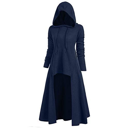 Aiserkly Damen Kapuze Umhang Bluse Tops Plus Size Langarm Hooded Spiral Tie Print Hohe Lange Robe Halloween Cosplay Weihnachten Karneval Kostüme Pullover Mantel Hoodie Long Bluse Kleid X-C-Blau S