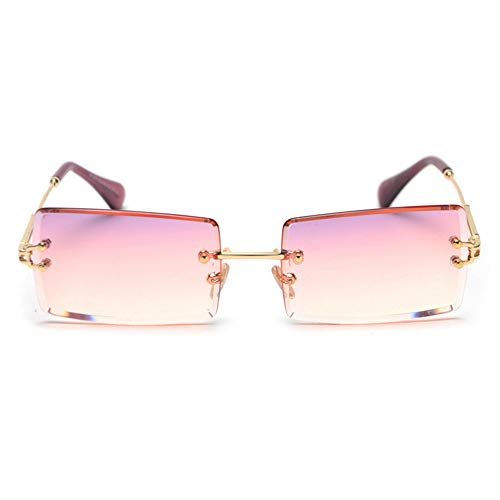 AJIAO Sonnenbrillen Mode Rechteck Farbverlauf Sonnenbrille Frauen Randlose Sonnenbrille
