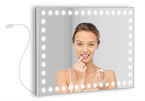 Espejo de tocador Modelo Hollywood de 60x40 cm con un Perfil LED de circulos de 30W Alrededor del Marco. Luz Regulable de 3000K hasta 6000K