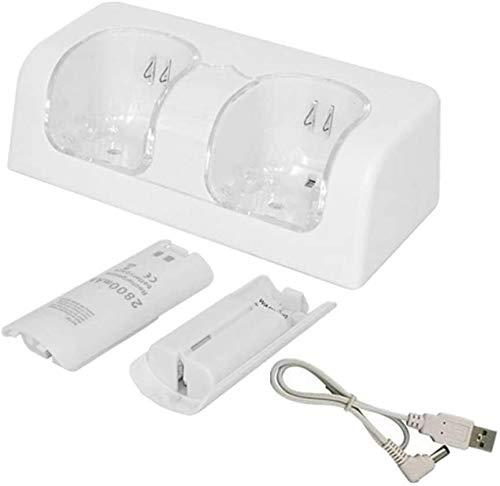 Akku-Ladegerät für Wii, Wii Ladegerät Station Dual LED Beleuchtung Ladegerät Dock mit 2 Wiederaufladbare Batterien für Wii/Wii U Fernbedienung (Weiß)