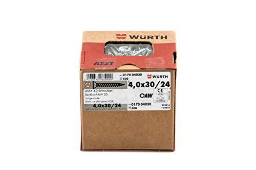 Würth Assy 3.0 Spanplattenschraube 4,0x 30 mm 500 Stck/Pack, Stahl verzinkt, blau passiviert, Vollgewinde, Senkkopf - AW 20