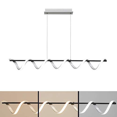 Lampara colgante LED mesa de comedor lampara de arana espiral blanca+negra lampara de mesa de comedor altura regulable luz blanca calida a fria blanca regulable cocina de la sala de estar,L100~27w