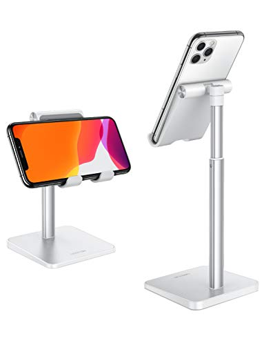 Cell Phone Stand, OMOTON Adjustable Angle Height Desk Phone Dock Holder for iPhone SE 2/11 / 11 Pro/XS Max/XR, Samsung Galaxy S20 / S10 / S9 / S8 and Other Phones (3.5-7.0-Inch),Silver