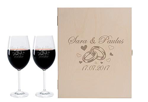 Leonardo FORYOU24 2 Weingläser mit Geschenkbox und Gravur Ringe Geschenkidee zur Hochzeit oder Verlobung Wein-Gläser graviert