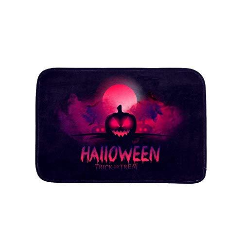 LORVIES Bathroom Rug, Halloween Bloody Moon Pumpkin Flannel Microfiber Foam Bath Mat, Non-Slip Soft Absorbent Bathroom…