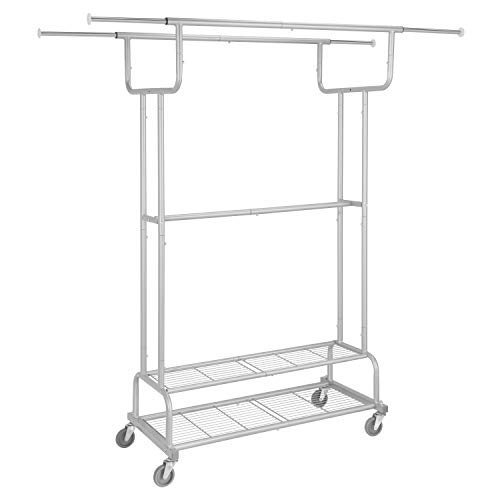Simple Trending Double Rail Clothes Garment Rack, Heavy Duty Commercial Grade Clothing Rolling Rack on Wheels and Bottom Shelves, Holds up to 300 lbs, Silver