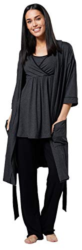 HAPPY MAMA Damen Mutterschaft Pyjama-Set/Hose/Top/Morgenmantel 558p (Graphit Melange & Schwarz, 44, 2XL)