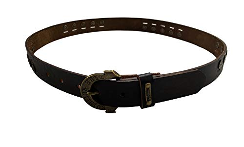 Womens Brown Studded Leather Belt With Horseshoe Buckle 2