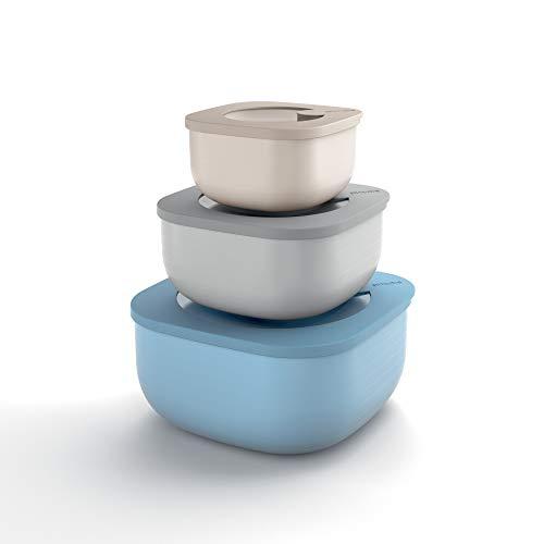 Guzzini Store&More Kitchen Active Design Set 3 Contenitori Ermetici Bassi per Frigo/Freezer/Forno A Microonde, 19.5 x 19.5 x 9.3 cm, Multicolore (Assorted)