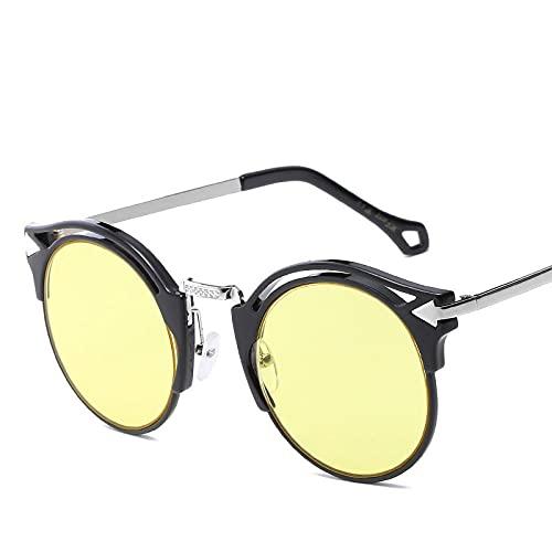 QWKLNRA Gafas De Sol para Hombre Montura Negra Lente Amarilla Gafas De Sol Deportivas Polarizadas contra-UV para Mujeres Hombres Semi Gafas De Sol Gafas Modernas Portátiles Vintage Montura Redonda