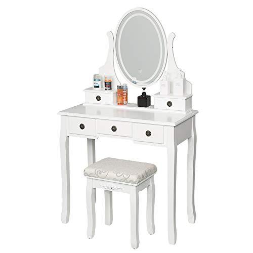 EUGAD Schminktisch mit Led Beleuchtung, Frisiertisch mit Hocker und Spiegel 5 Schubladen, moderner Kosmetiktisch für Schlafzimmer, 80x40x138cm, Weiß