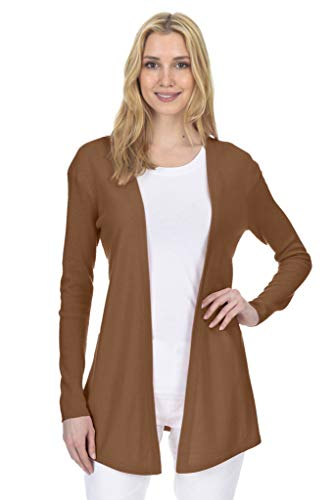State Fusio Open Front Cardigan Cashmere Wool Long Sleeve Fashion Sweater for Women (Almond, Medium)