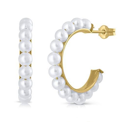 Pendientes oro 18k, 9K, niña o mujer, aros argolla con perla cultivada de calidad, coral o turquesa. Medida de la joya 15 milímetros, cierre de presión.