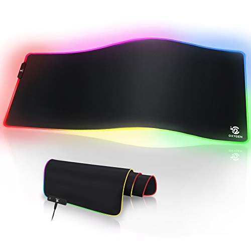 Oxygen RGB Gaming Mouse Pad, Ultra Bright LED Light&Soft Large Extended Mousepad with 10 Lighting...
