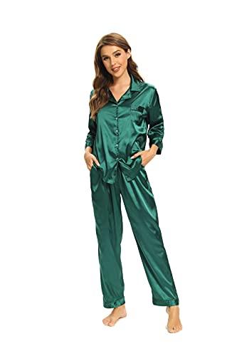 SHEKINI Pijama largo de dos piezas para mujer, de satén, camisón, pijama, pantalones cortos, kimono, bata con escote en V, albornoz con encaje Verde Oscuro 1713 L