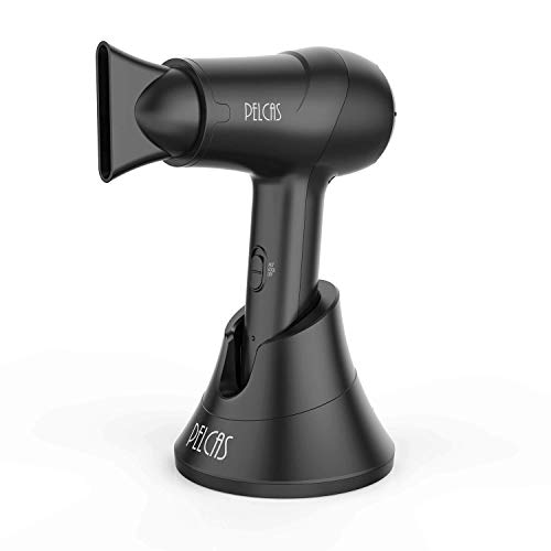 Cordless Hair Dryer, PELCAS Portable Hot & Cold Air Hair Dryer Rechargeable Wireless Blow Dryer with Diffuser & Removable Nozzle Constant Temperature of 50℃ Mild Wind for Blowing Hair Painting Drying