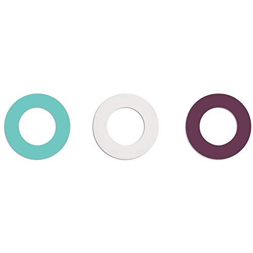 soulbottles Ringe und 3 Gummidichtungen, Türkis, Violett, Weiß, Einheitsgröße, Turquoise, Purple, White