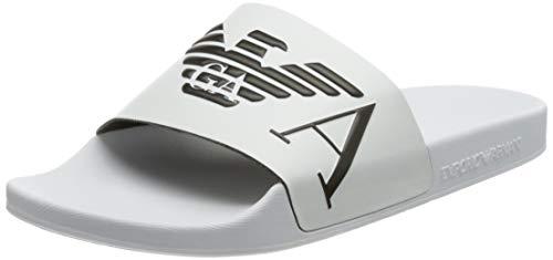 Emporio Armani Swimwear Slipper Monogram, Slide Sandal Uomo, Bianco/nero/bianco, 45 EU
