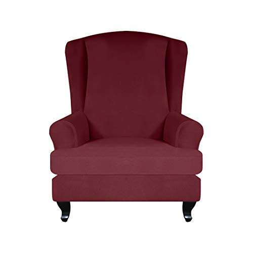 Renhe 2 Stücke Sesselüberwürfezug Ohrensesselbezug Stretch Husse Elastisch Ohrenbackensessel Sesselbezug Sofabezüge Weiche Möbel Protector Weinrot