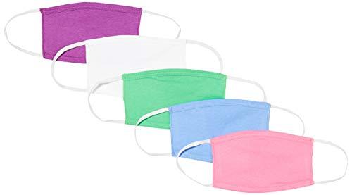 Oscar Apparels Kinder Wiederverwendbare Stoffmaske, 100% BCI Baumwolle mit elastischer Schlaufe, Farbmix 1, Kinder (5er Pack)