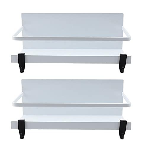 Estante magnético para especias organizador de nevera con 2 ganchos extraíbles almacenamiento en el refrigerador para especias utensilios tarros para cocina estante de almacenamiento de cocina