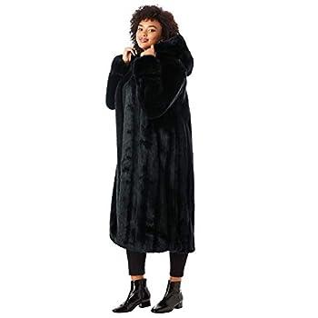 Roaman s Women s Plus Size Full Length Faux-Fur Coat With Hood - M Black
