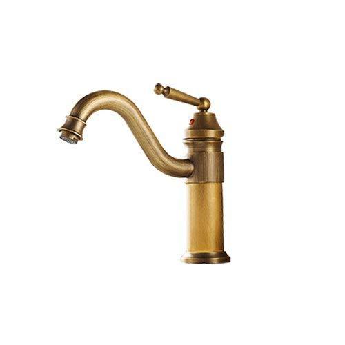 Grifo del lavabo del grifo de agua Todo el bronce Antiguo Continental Grifo caliente y frío Aumento de un solo orificio en el escenario Grifo del lavabo Grifo vintage Plata Negro (Tamaño: Dorado Pequ