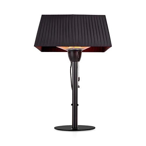 blumfeldt Loras Style - Tisch-Heizstrahler Heizgerät, Karbon-Infrarot-Heizelement: 1500 Watt, IR ComfortHeat, Lampenschirm mit Stoffbezug, Zugband, Retro-Design, schwarz