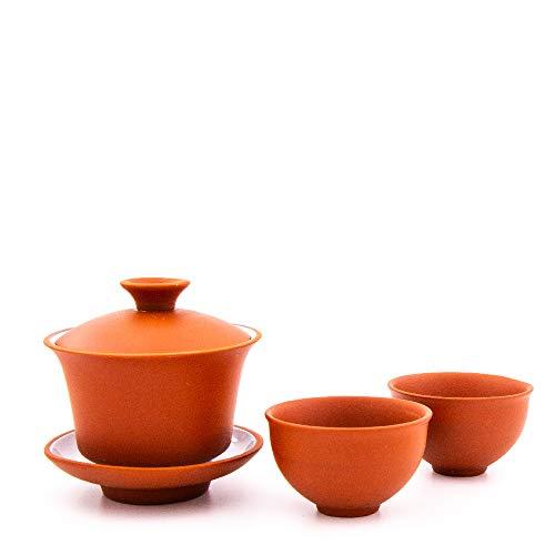 Gaiwan aus Yixing Ton mit 100 ml | Chinesischer Gaiwan aus hochwertigem Yixing Ton mit Zwei Tassen aus Yixing Ton | Zisha Gaiwan (rot)