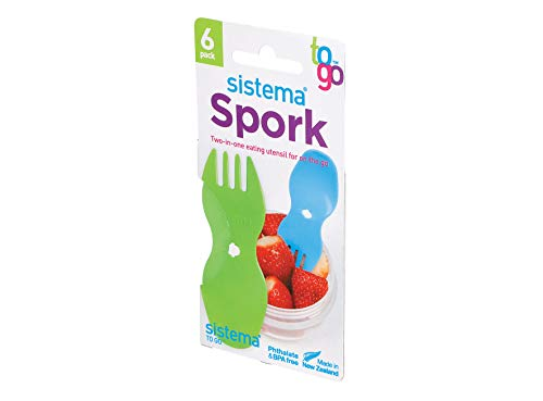 Sistema Spork 6 Pack, Polypropylene, Assorted, One