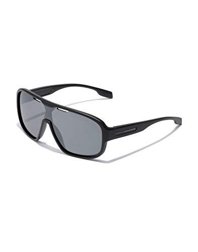HAWKERS · Gafas de Sol Infinite Mirror, para Hombre y Mujer, de diseño deportivo, combina montura negra mate con lente de máscara gris espejada, Protección UV400