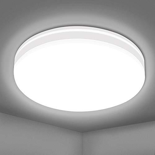 Hidixion Lámpara LED de Techo Regulable 18W, Plafón LED de Luz de Techo Redonda Φ22cm 1600LM 4000K Blanco Natural LED Plafón para Baño Dormitorio Cocina Balcón [Clase de eficiencia energética A++]