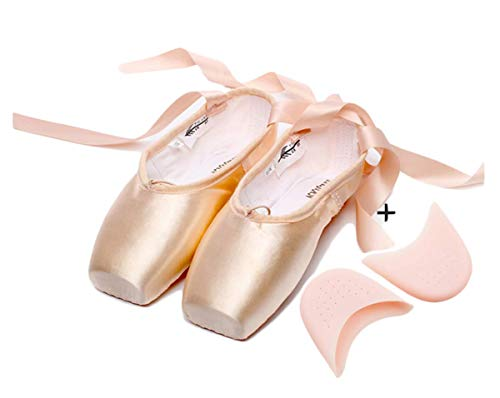 Aishangyide Ballettschuhe Satin Spitzenschuhe Mädchen Damen Tanzschuhe Ballettschläppchen mit Bändern Kinder Erwachsene Unterstützung Ballet Tanz Trainings Flache Schläppchen Schuhe Rosa Größen 31-45
