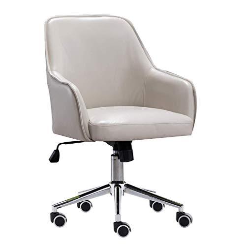 Desk Chair,Bürostuhl Pu Leder Drehstuhl Höhenverstellbar, Freizeitstuhl mit gepolsterter Polsterung, 360 ° drehbar, Ergonomisches Design, Weiß