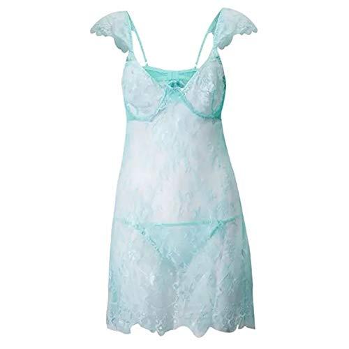 GIGIEroch Nachtwäsche für Frauen Frauen Ultra Romantische Spitze Nachthemd Bügel-BH Sonder Straps Nachtwäsche Chemise (Farbe : Blau, Größe : L)